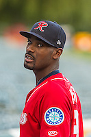 Jabari Blash (19) of the Tacoma Rainiers before the game against the Salt Lake Bees in Pacific Coast League action at Smith's Ballpark on September 1, 2015 in Salt Lake City, Utah. The Bees defeated the Rainiers 10-1.  (Stephen Smith/Four Seam Images)