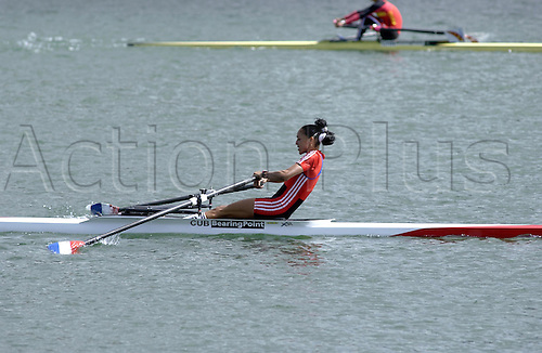 27 May 2005: Cuban rower Ismaray Marrero Aria (CUB) rowing to second place in the Women's Lightweight Skulls at the Bearingpoint Rowing World Cup, Dorney Lake, Eton Photo: Martin Cushen/actionplus...rowers 050527