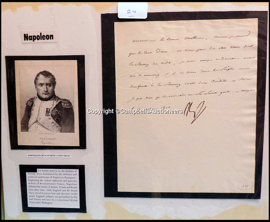 BNPS.co.uk (01202 558833)<br /> Pic: CampbellsAuctioneers/BNPS<br /> <br /> A signed letter from Napoleon Bonaparte to Monsieur le Comte Mollien, 1813.<br /> <br /> A magnificent collection of more than 1,000 signatures and letters from iconic historical figures including the Duke of Wellington, Picasso and Sir Winston Churchill have emerged for auction.<br /> <br /> The collection, which spans 300 years, was amassed by the late animal rights campaigner Jon Evans who meticulously framed or put the signatures in albums.<br /> <br /> Other famous figures in his collection include Charles Dickens, Sir Edmund Hilary, Mahatma Gandhi, Neil Armstrong, Lord Kitchener, Rudyard Kipling and Margaret Thatcher.<br /> <br /> The extensive array of documents is now expected to fetch &pound;30,000 at Campbells Auctioneers tomorrow (Tues).
