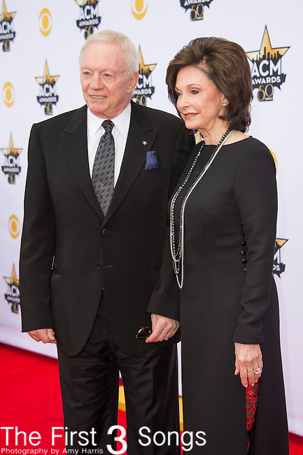 Dallas Cowboys Owner, President and General Manager Jerry Jones (L) and Gene Jones attend the 50th Academy Of Country Music Awards at AT&T Stadium on April 19, 2015 in Arlington, Texas.