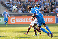 Jaime Castrillon (23) of the Philadelphia Union scores off a header during the second half against the  of the Colorado Rapids. The Colorado Rapids defeated the Philadelphia Union 2-1 during a Major League Soccer (MLS) match at PPL Park in Chester, PA, on March 18, 2012.