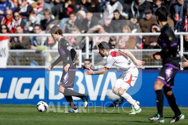 Real Valladolid's Marc Valiente and  Rayo Vallecano's Javi Fuego during La Liga  match. February 24,2013.(ALTERPHOTOS/Alconada)