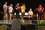 August 14, 2017- Tuscola, IL- Play director Johanna Steffens works with actors and actresses Matthew Griffith, Sydney Hoel, Sara Kremitzki, Connor Baer, Ashton Smith, and J.D. Barrett as they rehearse a scene for their upcoming fall production. Photo: Douglas Cottle]