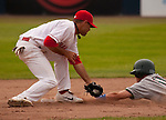 Tuesday, July 14, 2009.  The Boise Hawks Logan Watkins steals 2nd base in the 8th inning with 2 outs.  The Vancouver Canadians went on to win the game against The Boise Hawks 3-2 at Nat Bailey Stadium in Vancouver.   Photo by Gus Curtis