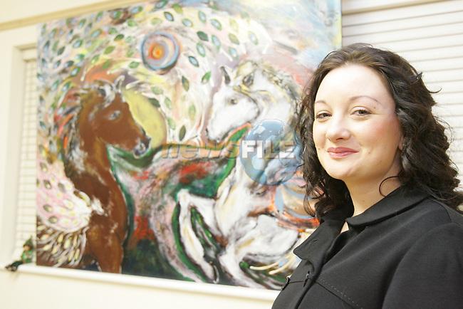 Clare Barone at the art exhibation in Mornington..Photo: Fran Caffrey/ Newsfile.<br />