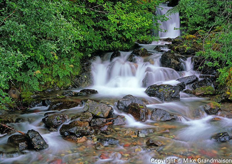 F_North. Mountain waterfall <br /> East of Prince Rupert.<br /> British Columbia<br /> Canada
