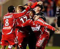 Chicago Fire midfielder Diego Gutierrez (8) celebrates the Fire's victory with defender Dasan Robinson (32).  The Chicago Fire defeated the Los Angeles Galaxy 3-1 in the championship game of the U.S. Open Cup at Toyota Park in Bridgeview, IL on September 27, 2006...