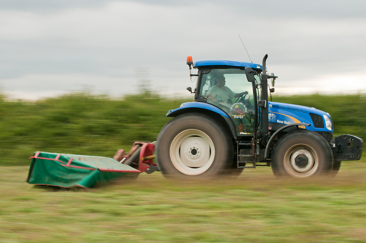 Tractor cutting traditional hay meadow. This has been left late enough to allow the wildflowers to set seed. Clattinger Farm, Wiltshire. UK. . This habitat has been reduced by 98% in the UK since the Second World War. This is largely due to the intensification of farming practices.