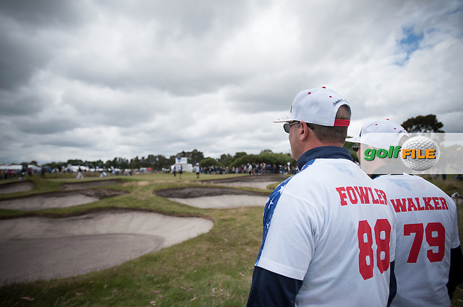 watching Rickie Fowler (USA), Jimmy Walker (USA) during round 1 at the ISPS Handa World Cup of Golf, from Kingston heath Golf Club, Melbourne Australia. 24/11/2016<br /> Picture: Golffile | Anthony Powter<br /> <br /> <br /> All photo usage must carry mandatory copyright credit (&copy; Golffile | Anthony Powter)