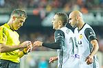 Rodrigo Moreno of Valencia CF got tackles yellow during the La Liga 2017-18 match between Valencia CF and FC Barcelona at Estadio de Mestalla on November 26 2017 in Valencia, Spain. Photo by Maria Jose Segovia Carmona / Power Sport Images
