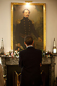 West Point, NY - December 1, 2009 -- United States President Barack Obama looks at a portrait hanging in the Superintendent's quarters at the U.S. Military Academy at West Point in West Point, New York., before delivering a speech on his new Afghanistan strategy, Tuesday, December 1, 2009. .Mandatory Credit: Pete Souza - White House via CNP