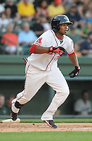 Left fielder Keury De la Cruz (25) of the Greenville Drive in a game against the Lexington Legends on May 2, 2012, at Fluor Field at the West End in Greenville, South Carolina. Lexington won, 4-2. (Tom Priddy/Four Seam Images)