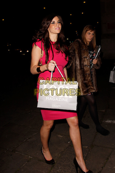 Imogen Thomas.Look Magazine 5th Birthday Party, One Marylebone, London, England..March 1st, 2012.full length red dress goody bag  .CAP/AH.©Adam Houghton/Capital Pictures.