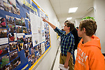 WOODBURY, CT-23 October 2014-102314EC06--   Hans Reelick and his brother Peter look at a display about curriculum Thursday night at Nonnewaug High School. The halls were packed with parents and prospective students checking out the agricultural science and technology center. Erin Covey Republican-American