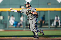 Vanderbilt Commodores shortstop Dansby Swanson (7) makes a throw to second base during the NCAA College baseball World Series against the TCU Horned Frogs on June 16, 2015 at TD Ameritrade Park in Omaha, Nebraska. Vanderbilt defeated TCU 1-0. (Andrew Woolley/Four Seam Images)