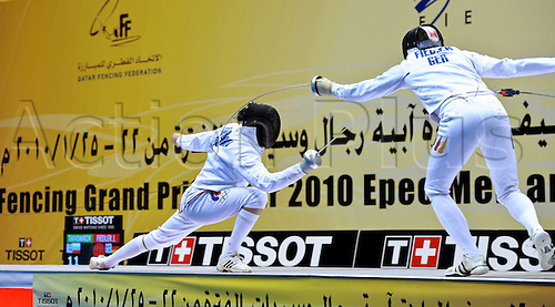24 01 2010  Doha Joerg Fiedler r of Germany Competes in The Mens Individual Epee Final of 2010 Qatar Fencing Grand Prix in Doha Capital of Qatar ON Jan 23 2010 Joerg Fiedler defeated Alexey Tikhomirov of Russia and claimed The Championship.