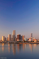 Miami, Florida skyline at sunrise.