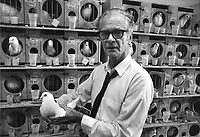 BF Skinner in his laboratory, this picture is used in the Encyclopedia Britannica under BF Skinner.
