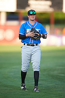 Hudson Valley Renegades catcher Josh Rapacz (25) warms up before a game against the Vermont Lake Monsters on September 3, 2015 at Centennial Field in Burlington, Vermont.  Vermont defeated Hudson Valley 4-1.  (Mike Janes/Four Seam Images)