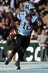 15 November 2014: UNC's Marquise Williams scrambles in the endzone. The University of North Carolina Tar Heels hosted the University of Pittsburgh Panthers at Kenan Memorial Stadium in Chapel Hill, North Carolina in a 2014 NCAA Division I College Football game. UNC won the game 40-35.
