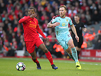 Burnley's Scott Arfield and Liverpool's Georginio Wijnaldum<br /> <br /> Photographer Rich Linley/CameraSport<br /> <br /> The Premier League - Liverpool v Burnley - Sunday 12 March 2017 - Anfield - Liverpool<br /> <br /> World Copyright &copy; 2017 CameraSport. All rights reserved. 43 Linden Ave. Countesthorpe. Leicester. England. LE8 5PG - Tel: +44 (0) 116 277 4147 - admin@camerasport.com - www.camerasport.com