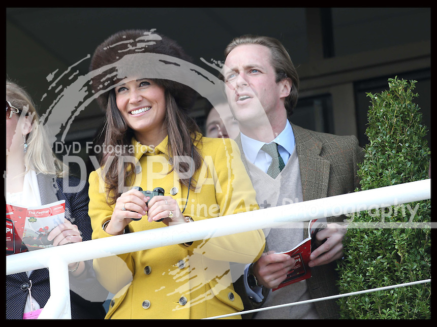 Pippa Middleton watches the racing at the Cheltenham Festival, Thursday, 14th  March 2013.  Photo by: Stephen Lock / i-Images / DyD Fotografos