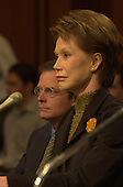 Michael J. Fox, left,  and Mary Tyler Moore, right, testify before the United States Senate Appropriations Subcommittee on Labor, HHS, and Education on the benefits of stem cell research in Washington, D.C. on September 14, 2000..Credit: Ron Sachs / CNP