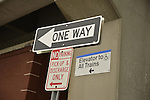 Signs for Elevators to All Trains, No Parking, and One Way, at Merrick train station of Babylon branch, after MTA Metropolitan Transit Authority and Long Island Rail Road union talks deadlock, with potential LIRR strike looming just days ahead.