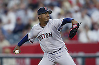 Pedro Martinez of the Boston Red Sox pitches during a 2002 MLB season game against the Los Angeles Angels at Angel Stadium, in Anaheim, California. (Larry Goren/Four Seam Images)