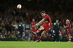 Wales outside half Dan Biggar kicks a late first half conversion.<br /> Dove Men Series 2014<br /> Wales v Australia<br /> Millennium Stadium<br /> 08.11.14<br /> &copy;Steve Pope-SPORTINGWALES