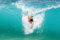 Body surfer at Sandy Beach, Oahu's favorite bodysurfing spot