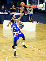 Darryl Jones lays a shot up as Leon Henry intercepts during the national basketball league match between Wellington Saints and Taylor Hawks at TSB Bank Arena in Wellington, New Zealand on Friday, 17 March 2017. Photo: Dave Lintott / lintottphoto.co.nz