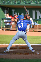 Logan Landon (43) of the Ogden Raptors at bat against the Idaho Falls Chukars in Pioneer League action at Lindquist Field on June 22, 2015 in Ogden, Utah. The Chukars defeated the Raptors 4-3 in 11 innings. (Stephen Smith/Four Seam Images)