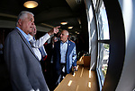 From left, Democratic governor candidate Steve Sisolak, University of Nevada, Reno President Marc Johnson and Raiders president Marc Badain tour the campus in Reno, Nev., on Thursday, Aug. 16, 2018. The Raiders are considering several potential training camp locations in Reno. (Cathleen Allison/Las Vegas Review-Journal)