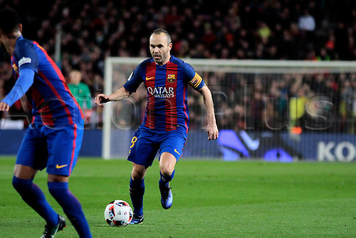 11.01.2017, Nou Camp, Barcelona, Spain. Copa del Rey, 2nd leg. FC. Barcelona versus Athletico Bilbao.  Iniesta in action during the match