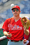 30 May 2011: Philadelphia Phillies infielder Chase Utley warms up prior to facing the Washington Nationals at Nationals Park in Washington, District of Columbia. The Phillies defeated the Nationals 5-4 to take the first game of their 3-game series. Mandatory Credit: Ed Wolfstein Photo