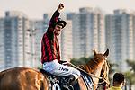 Jockey Zac Purton riding Time Warp wins the Longines Hong Kong Cup (G1, 2000m) during the Longines Hong Kong International Races at Sha Tin Racecourse on December 10 2017, in Hong Kong, Hong Kong. Photo by Victor Fraile / Power Sport Images