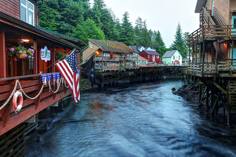 Buildings on pilings above Ketchikan Creek, historic Creek Street, Ketchikan, Alaska