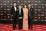 Spanish director Leticia Dolera (2R) and actor Manuel Burque (R) attend 30th Goya Awards red carpet in Madrid, Spain. February 06, 2016. (ALTERPHOTOS/Victor Blanco)