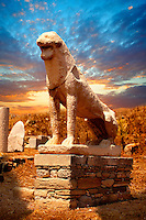 The Avenue of the lions in t he ruins of the Greek city of Delos, the birthplace of the twin gods Apollo and Artemis. Greek Cyclades Islands.