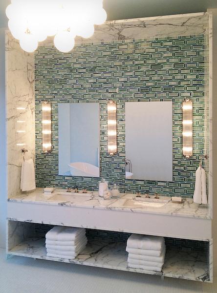 Bath designed by Jamie Drake featuring Pandora in Peacock Topaz and Jade jewel glass for Blackman Studio, Southampton NY.
