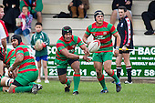 Sio Petelo plays halfback as Sosefo Kata and Heinie Fourie watch his skills. Counties Manukau Premier Club Rugby game between Waiuku and Bombay, played at Waiuku on Saturday July 5th 2010. Waiuku won 59 - 14 after trailing 12 - 14 at halftme.