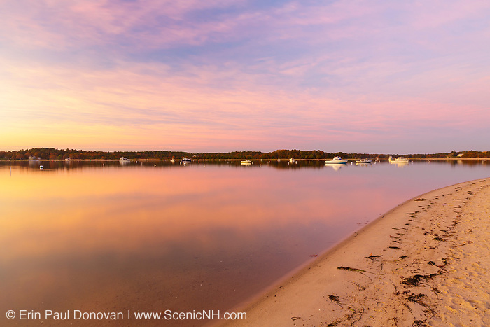 Sunrise over Onset Bay in Onset Village in Wareham, Massachusetts during the autumn months.