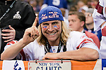 New York Giants fan Joe Ruback, known as license plate man, looks on during the NFL Super Bowl XLVI football game against the New England Patriots on Sunday, Feb. 5, 2012, in Indianapolis. The Giants won 21-17 (AP Photo/David Stluka)...