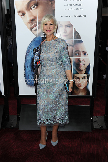www.acepixs.com<br /> December 12, 2016  New York City<br /> <br /> Helen Mirren attending the 'Collateral Beauty' World Premiere at Frederick P. Rose Hall, Jazz at Lincoln Center on December 12, 2016 in New York City.<br /> <br /> <br /> Credit: Kristin Callahan/ACE Pictures<br /> <br /> Tel: 646 769 0430<br /> Email: info@acepixs.com