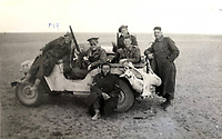 BNPS.co.uk (01202 558833)<br /> Pic: Bosleys/BNPS<br /> <br /> Irregular Army - Casey(left) with other members of 1st SAS on a hunting trip in North Africa.<br /> <br /> Sold for £25,000 - An extraordinary wartime archive that lift's the veil on the earliest days of the SAS during WW2.<br /> <br /> The late Fred Casey was among the original dozen members of the 1st Special Air Service that was formed in North Africa to wreak havoc behind enemy lines.<br /> <br /> The commando's military possessions included a remarkable album containing previously unseen images of the founding members of the elite force.<br /> <br /> Legendary Captain David Stirling, who formed the 'Who Dares Wins' regiment, and hand-picked the men under his command, is pictured along with his controversial deputy Paddy Mayne , who took over the top secret regiment after Stirling's capture.<br /> <br /> The album sold at Bosley's Auctioneers of Marlow, Bucks, last week for over five times its pre-sale estimate..