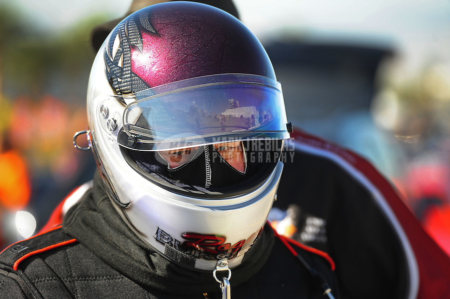 Oct. 28 2011; Las Vegas, NV, USA: NHRA pro mod driver Roger Burgess during qualifying for the Big O Tires Nationals at The Strip at Las Vegas Motor Speedway. Mandatory Credit: Mark J. Rebilas-