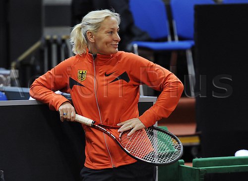 13 04 2011  Tennis FedCup Germany versus USA World Group Play Offs 16 17 APR 2011 Stuttgart Porsche Arena Team Captain Barbara Rittner Germany women Fed Cup practises