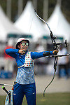 Sugimoto Tomomi(JPN)<br /> AUGUST 27, 2018 ? Archery : <br /> Asian games 2018 Jakarta Palembang<br /> Recurve Mixed Team Gold Medal Match, <br /> at The GBK in Jakarta, Indonesia. <br /> (Photo by AFLO)