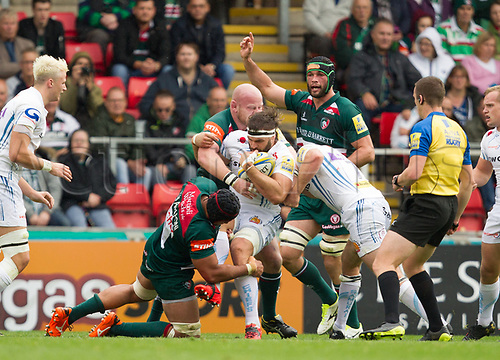 30th September 2017, Welford Road, Leicester, England; Aviva Premiership rugby, Leicester Tigers versus Exeter Chiefs;  Don Armand working hard in the loose for Exeter